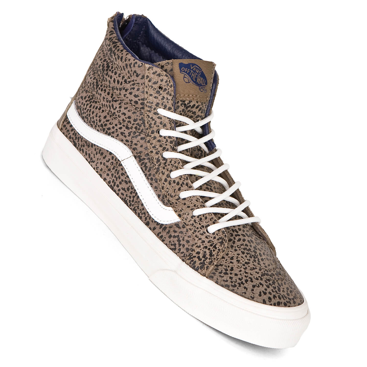 vans sk8 hi slim zip cheetah suede black tan damen. Black Bedroom Furniture Sets. Home Design Ideas