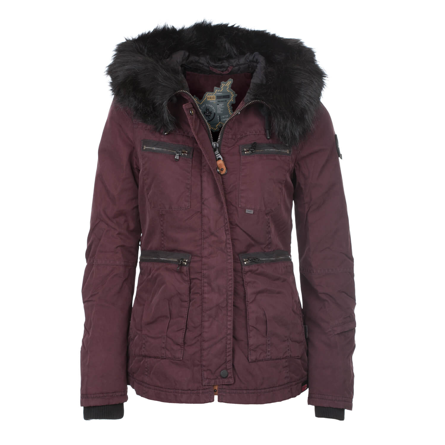 khujo makala damen jacke weinrot damen winterjacke mit fell kapuze rot drop. Black Bedroom Furniture Sets. Home Design Ideas