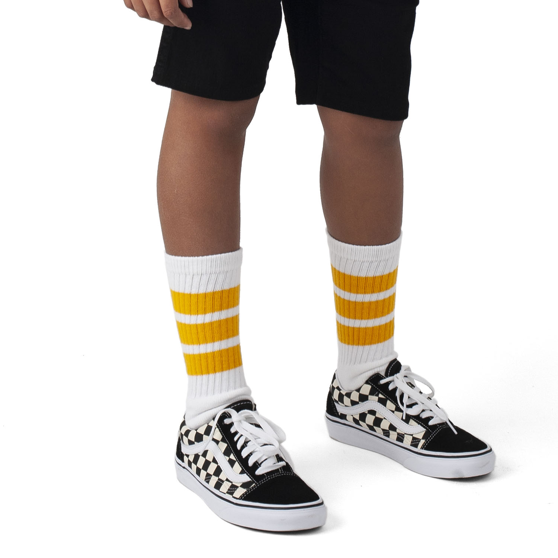 Skatersocks 19 Inch Skater Socken weiß gelb rot gestreifte Tube Socks halbhoch