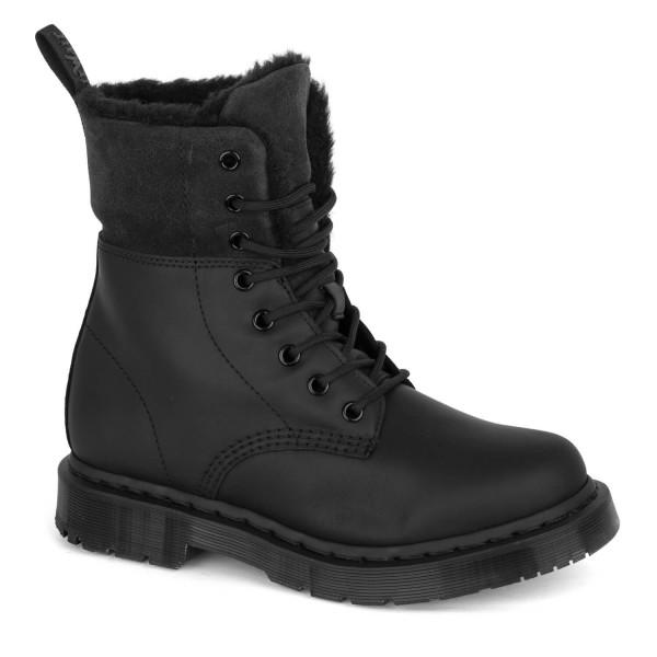 67f30cf9814200 Dr. Martens Kolbert Winterstiefel Damen Boots schwarz Fell gefüttert ...