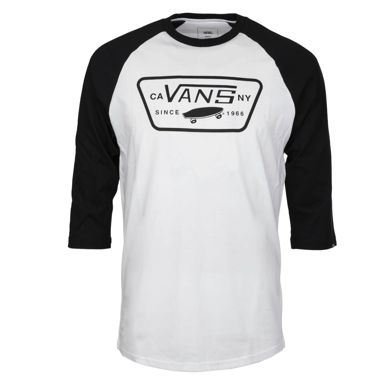 39b39229bf24 Vans Full Patch Raglan Sleeve T-Shirt weiß schwarz   DROP-IN.de