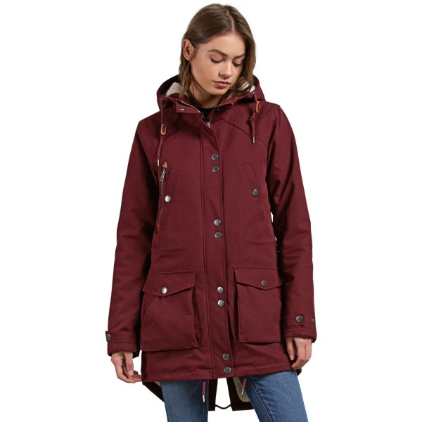 9f29901a7aca Volcom Walk On By Parka burgundy Damen Mantel mit Fell weinrot ...