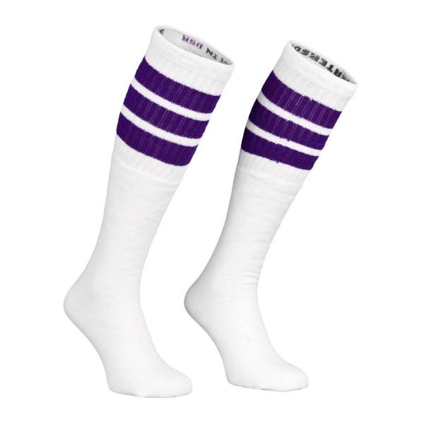 Trennschuhe fantastische Einsparungen neuer Lebensstil Skatersocks Socken 25 Inch Kniestrümpfe weiß lila gestreift