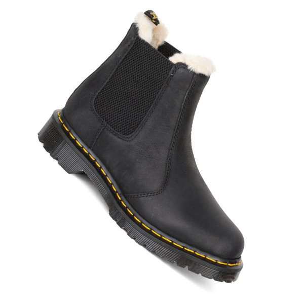 price reduced hot sale cheapest Dr. Martens Leonore schwarz Fell Stiefel gefüttert wyoming black