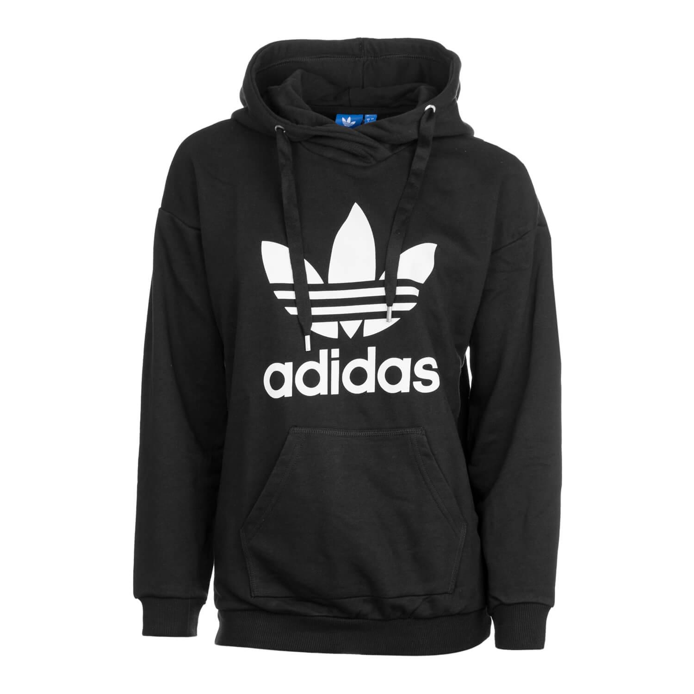 adidas trefoil oversize hoodie damen schwarz wei weit. Black Bedroom Furniture Sets. Home Design Ideas