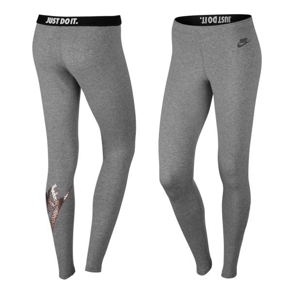 81c63dc5d08116 Nike Leggings Leg-a-See Logo metalic carbon heather / bronze - Damen ...