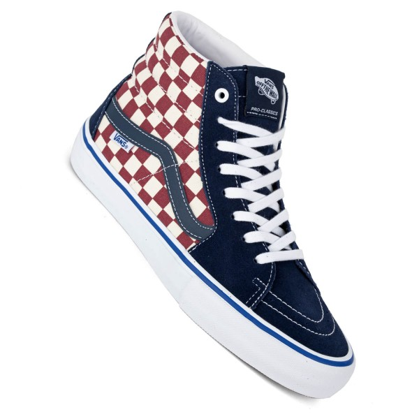 Vans Sk8 Hi Pro checker dress blue navy rot Skateschuhe